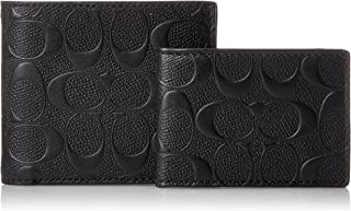 Coach Signature Crossgrain Leather Compact ID Wallet (Black)