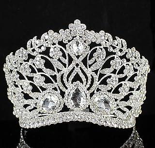 Janefashions 大号印花透明奥地利水钻水晶皇冠带梳子新娘 T901