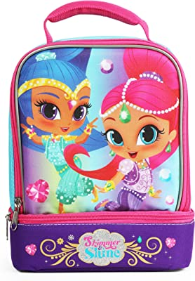 Nickelodeon Shimmer and Shine Pink Jewels Insulated Dual Compartment Lunch Tote with Handle Measures 7.5 inches W x 9.0 inches H x 5.0 inches Deep