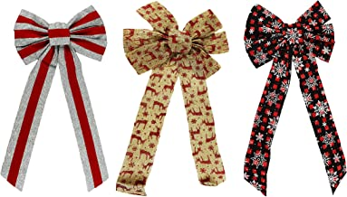 """Set of 3 Holiday Decorative Bows! - Perfect for Seasonal Decor, Parties, Accessories, and More! - Measures 10""""x22""""(3 Bows)"""