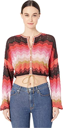 Long Sleeve Chevron Button Front Cardi