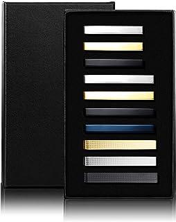 JOERICA 10 Pcs Tie Clips Set for Men Tie Bar Pin Clips Set for Regular Ties Necktie Wedding Business Clips with Gift Box