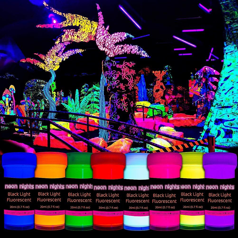 病的行く後8 x 1.76 fl oz Black Light Paints Neon UV Fluorescent Colors Blacklight 50 ml Wall Paint Decoration Art