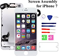for iPhone 7 Screen Replacement White, Nroech 4.7'' i7 LCD Display Digitizer 3D Touch Screen Replacement Frame Full Assembly with Front Camera Repair Tool Kit and Screen Protector