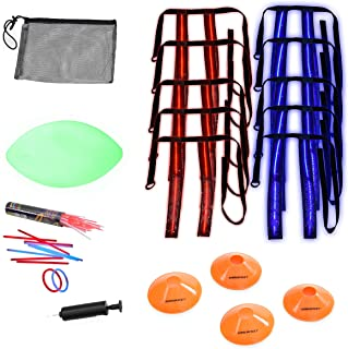 Rukket Flag Football Set, Glow In The Dark Capture The Flag Footballs, Belts, Cones & Toys, 10 Player Kids & Youth Nightti...