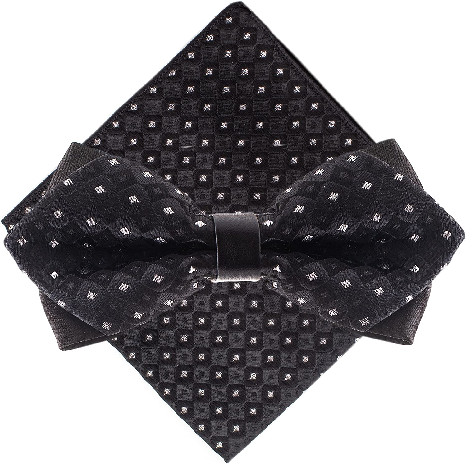 Bow Tie and Pocket Square - Diamond Tip Bow Ties for Men - Many Colors to Choose From
