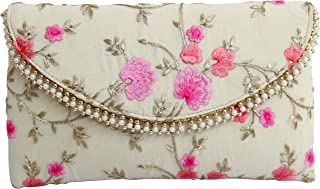Purna Jewellers Women's Stylish Handcrafted Embroidered Clutch Bag Purse Handbag (Pjlm1Gb27_Cream) Pack Of 1