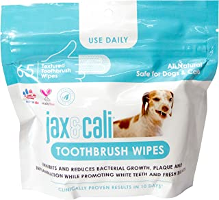 JAX & CALI Pet Toothbrush Wipes, All Natural Textured Dental Wipes, Holistic Pet Oral Care, Cruelty Free, Natural Enzymes ...