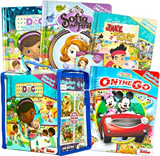 Disney Junior Look and Find Board Books Set Kids Toddlers Bundle ~ Set of 4 Activity Books in Carrying Case with Stickers...