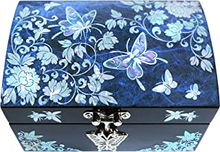 Jewelry Box Ring Organizer Mother of Pearl Inlay Mirror Lid Butterfly Blue