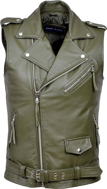 Men's Brando Waistcoat Biker Motorcycle Style Khaki Real Cowhide Vest 1025