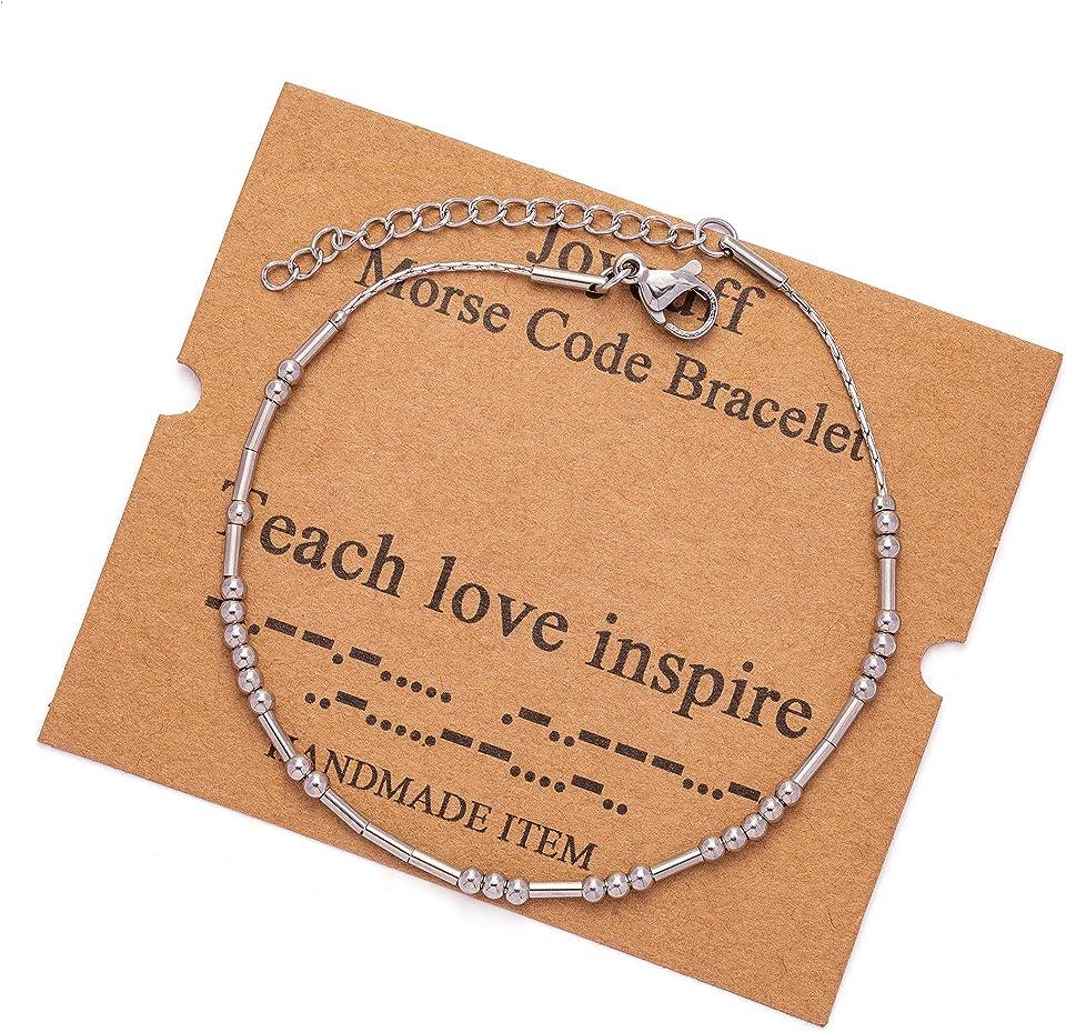 Joycuff Morse Code Bracelets for Women Teen Girls Funny Gifts for Her Mom Daughter Sister Best Friend Inspirational Jewelry Silk Beaded Wrap Adjustable Bracelet