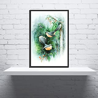 DecoDrama Lovable Bird Family Wall Painting/Wall Art with Black Photo Frame for Living Room, Bedroom or Gift Item. Size 12...