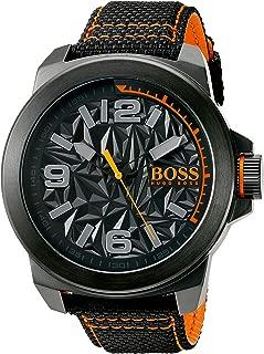 Orange Men's 'NEW YORK' Quartz Resin and Canvas Casual Watch, Color:Black (Model: 1513343)