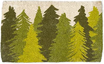 tag - Woodland Trees Coir Mat, Decorative All-Season Mat for The Front Porch, Patio or Entryway, Green