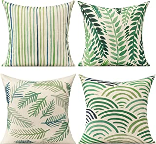 All Smiles Outdoor Pillow Covers 20x20 for Patio Funitures Green Decorative Accent Throw Pillows for Porch Bench Couch Sof...