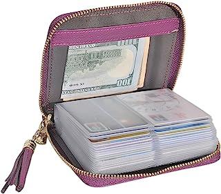 Womens Genuine Leather Zip Credit Card Holder Wallet RFID Blocking 40 Card Slots (Lichee Darkpurple)