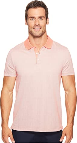 Perry Ellis Geometric Herringbone Pattern Three-Button Polo Shirt