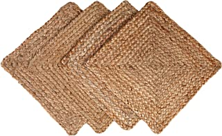 GLAMBURG Jute Braided Placemats Set of 4 Reversible, 100% Jute, Nonslip 14x14 Square Farmhouse Vintage Jute Placemats for Dining Table, Perfect for Indoor Outdoor, Natural