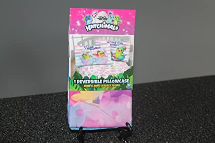 """Set of 2 Hatchimal Pillowcase Reversible"""" Hatchy Friends Forever""""-""""Lets Hatch Together"""",Pink,7.9 x 4.2 x 1.6 inches"""