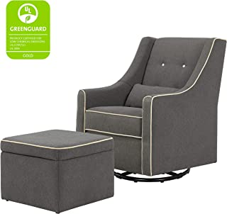 DaVinci Owen Upholstered Swivel Glider with Side Pocket and Storage Ottoman, Dark Grey with Cream Piping