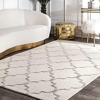 nuLOOM SBHAC13A-10014 Faux Silk Moroccan Wool Rug, 10' x 14', Nickel