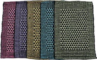 Shankara Pure Cotton Weaved Water Absorbing Reversible Door Mat | Bath Mat Combo for Indoor and Outdoor -Set of 5 (Multicolor
