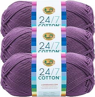 (3 Pack) Lion Brand Yarn 761-147 24/7 Cotton Yarn, Purple
