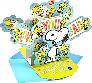 Hallmark Peanuts Pop Up Fathers Day Card for Dad with Music (Plays Linus & Lucy)