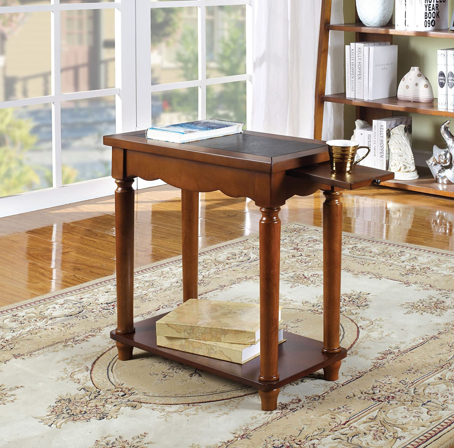 Yenice Side Table in Antique Oak Finish