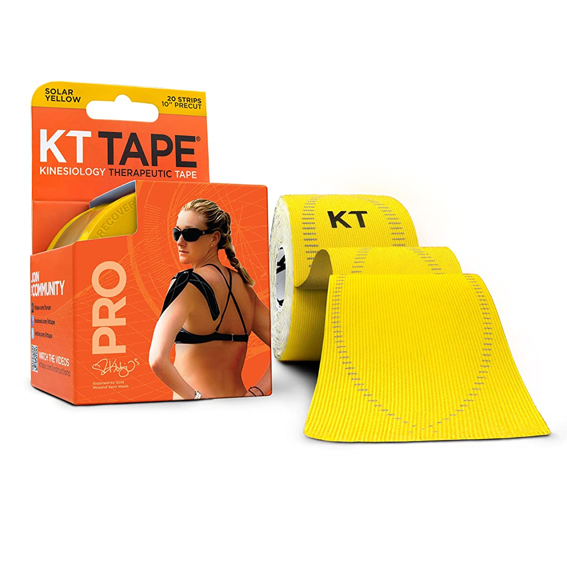 KT Tape Pro Kinesiology Therapeutic Sports Tape, 20 Precut 10 inch Strips, Solar Yellow, Latex Free, Water Resistance, Pro & Olympic Choice