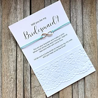 Carrie Clover Wish bracelet to Ask Bridesmaid - Bridesmaid Proposal Bracelets on Keepsake Message Cards. Will you Be my Bridesmaid Gift, Bridal party invites, B3