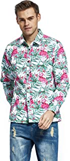 Men's Hawaiian Long Sleeve Shirt Aloha Shirt Flamingo in Love Whtie