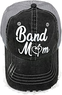 White Glitter Band Mom Distressed Look Grey Trucker Cap Hat Music