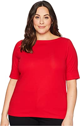 Plus Size Stretch Cotton Boat Neck Tee