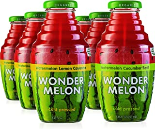 Wonder Melon Organic Watermelon Juice, Cold Pressed, (Variety 6 Pack) 3 Watermelon with Basil Cucumber & 3 Watermelon with...