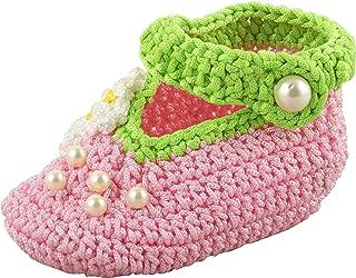 FUNKRAFTS Baby Girls' Pink Crochet Booties - 2 UK