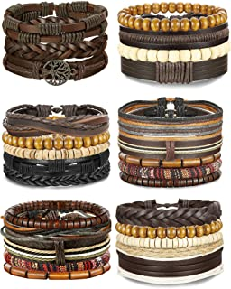 12-17 Pcs Leather Bracelet for Men Women Woven Cuff...
