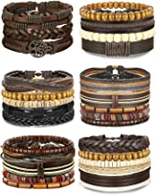FIBO STEEL 12-17 Pcs Leather Bracelet for Men Women Woven Cuff Bracelet Adjustable