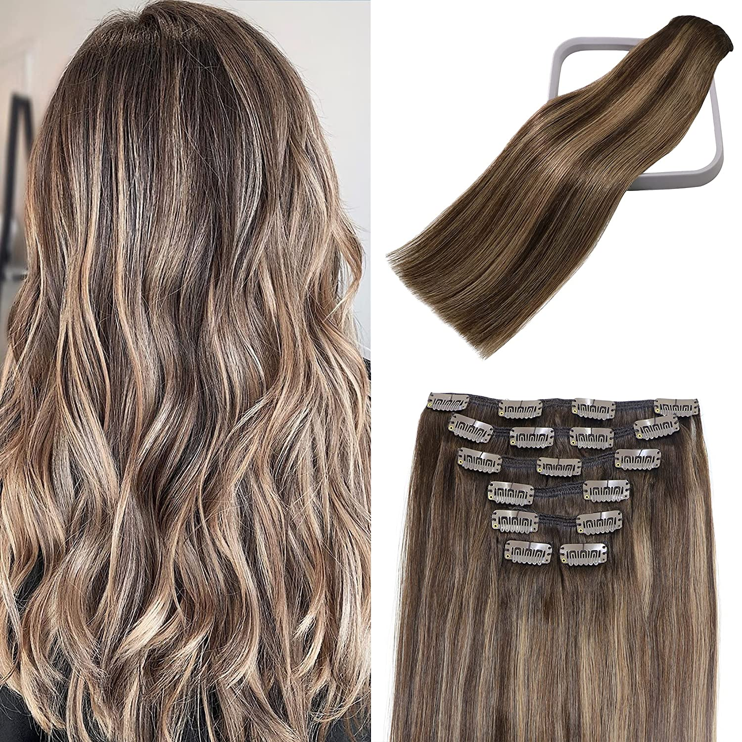 Clip in Hair Extensions Human D To store Large-scale sale Chocolate Brown Balayage