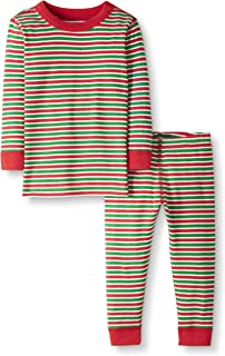 Moon and Back by Hanna Andersson Toddler Kids 2 Piece Long Sleeve Pajama Set, Red/Green Stripe, 2T