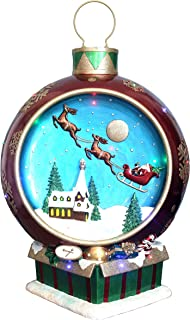 Fraser Hill Farm FFRS034-ORN3-RD Indoor/Outdoor Oversized 34.5-in. Musical Santa and Flying Sleigh Ornament w/Long-Lasting LED Lights, Red Holiday Decoration, Color 2