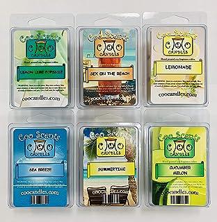 6 Pack Soy Blend Wickless Candle Tart Wax Bar Melts - Beachy Summer Pack - Cucumber Melon, Sea Breeze, Summertime, Lemonad...