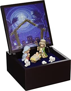 "Precious Moments, Heirloom Nativity Set Deluxe Music Box"", LED Stars, Plays Silent Night, 161106"