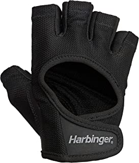 Harbinger Women`s Power Weightlifting Gloves with StretchBack Mesh and Leather Palm (1 Pair)