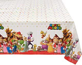"Amscan 571554 Super Mario Brothers™ Multicolor Plastic Table Cover, Party Favor 54"" x 96"" 1 ct"