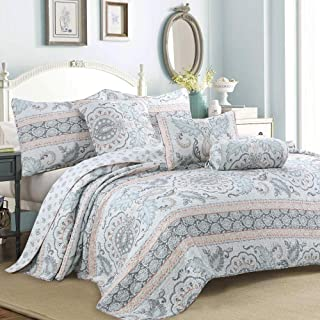 Cozy Line Home Fashions Aqua/Coral/Gray Reversible Bedding Quilt Set, Bedspread, Lightweight Coverlet Quilt for Spring and Summer, 1 Quilt and 2 Pillow Shams (Leaf Geometric, King - 3 Piece)
