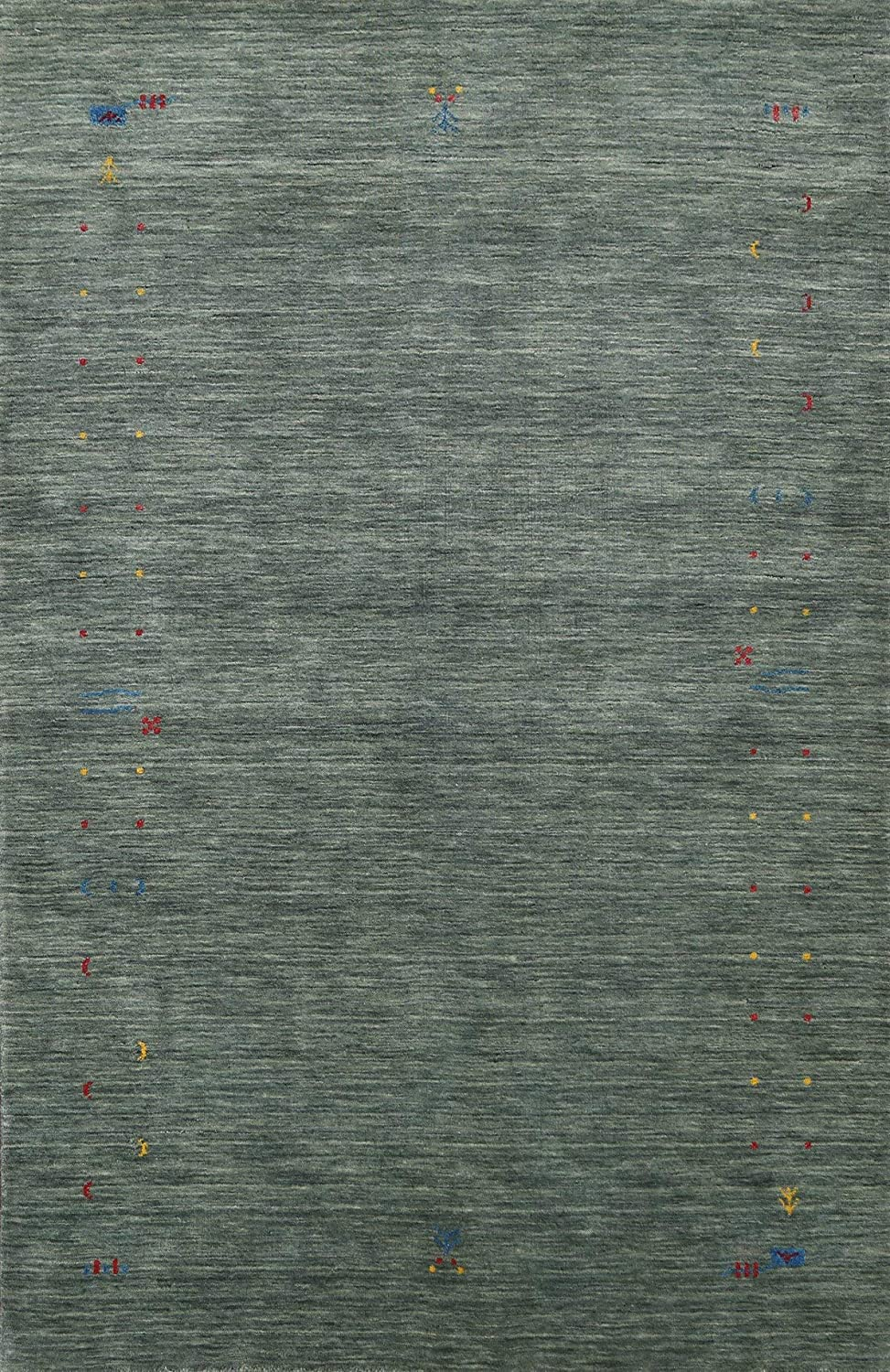 Green Abstract Modern Gabbeh Oriental Bombing free Max 77% OFF shipping Hand-Knotted Rug Wool Area