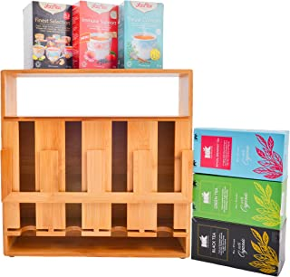 Refine Bamboo Tea Bag Organizer, 4 compartment wooden teabag storage rack with display window. Perfect for tea lover, restaurant and hotel