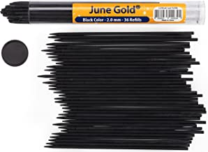 June Gold 36 Black Colored 2.0 mm (NOT GRAPHITE) Lead Refills, Bold Thickness for Heavy Use, Break Resistant with a Convenient Dispenser
